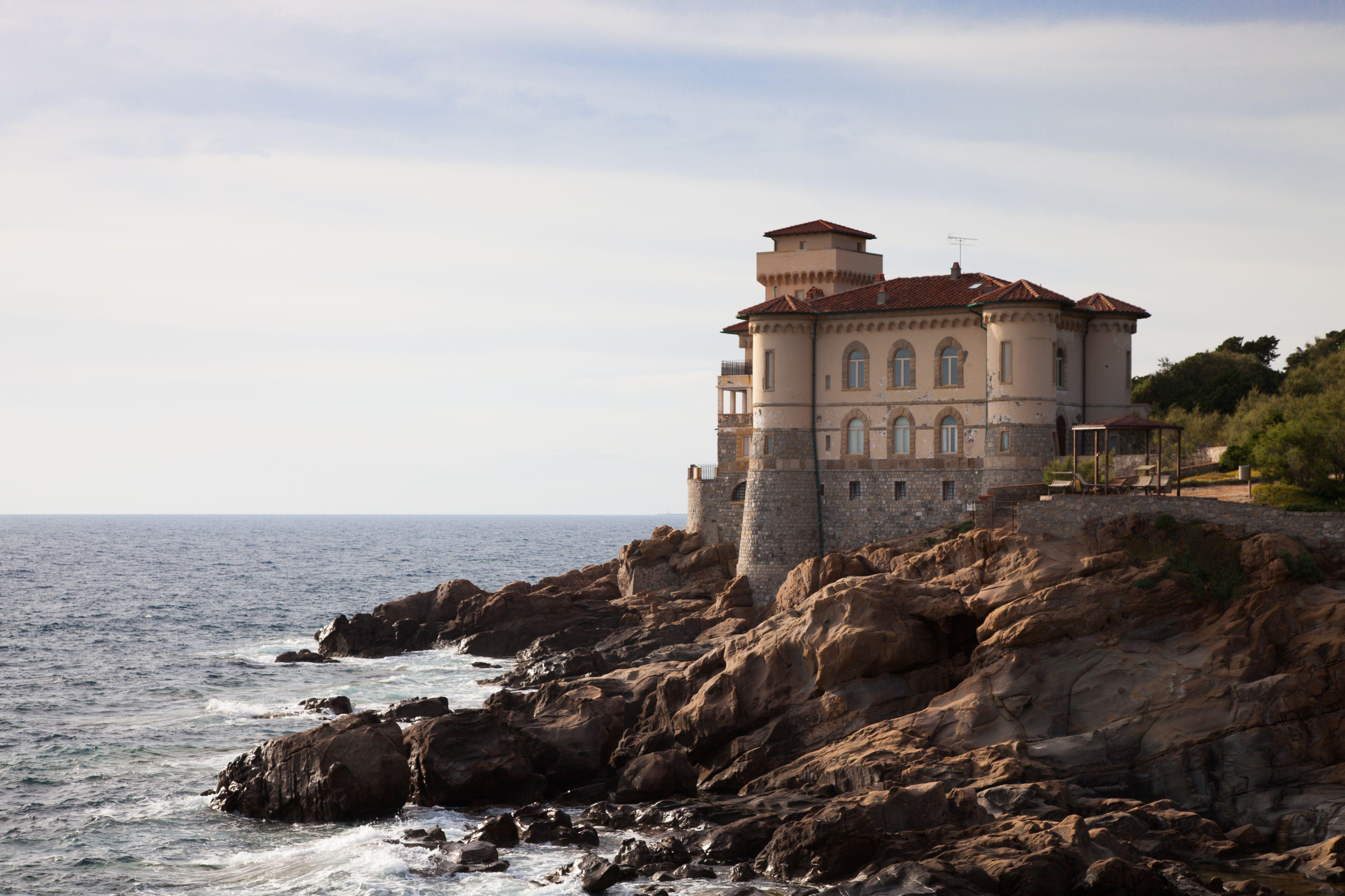 Castle on cliff near seashore