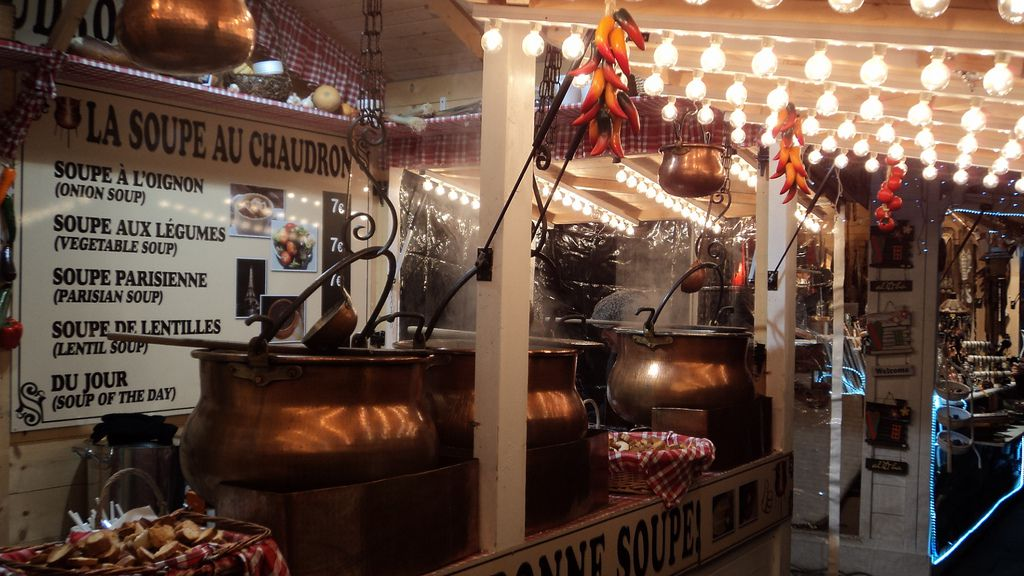 Soup stand at a Paris Christmas market