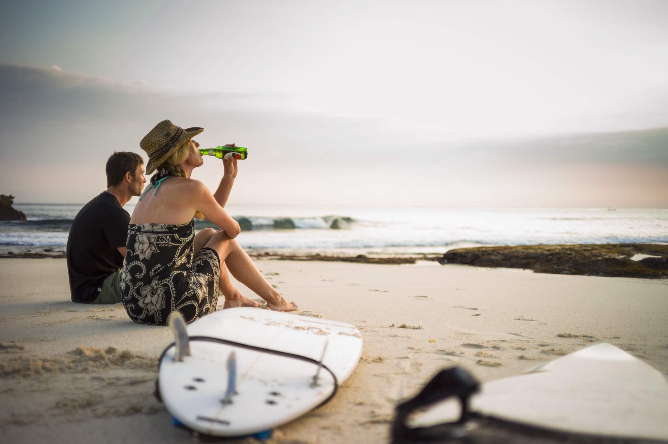 Bali beach with surfboard