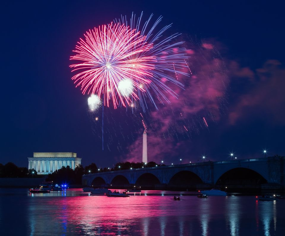 Independence Day fireworks over Washington Monument and Lincoln Memorial