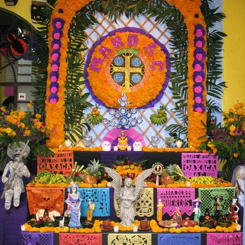 Day of the Dead altar in a handicraft shop