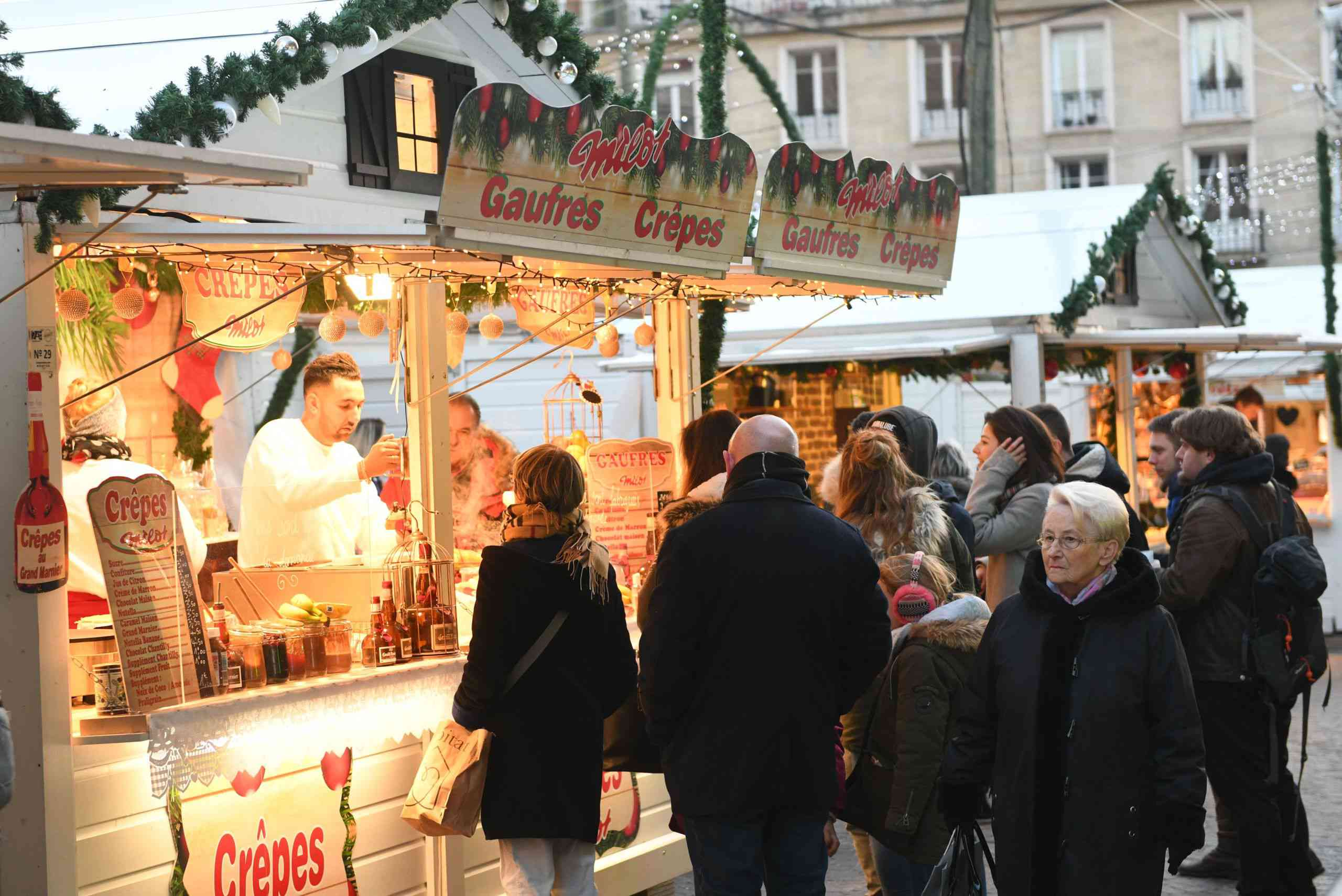 Crepe stand at a Christmas market in Normandy.