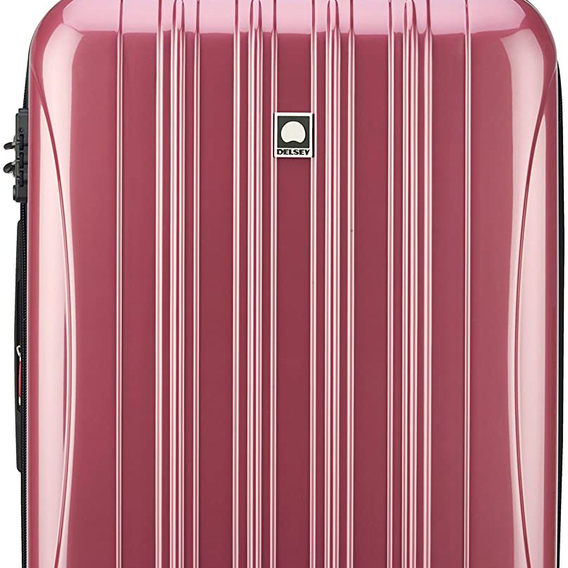 Delsey Paris Helium Aero Hardside Expandable Luggage with spinner wheels in peony pink
