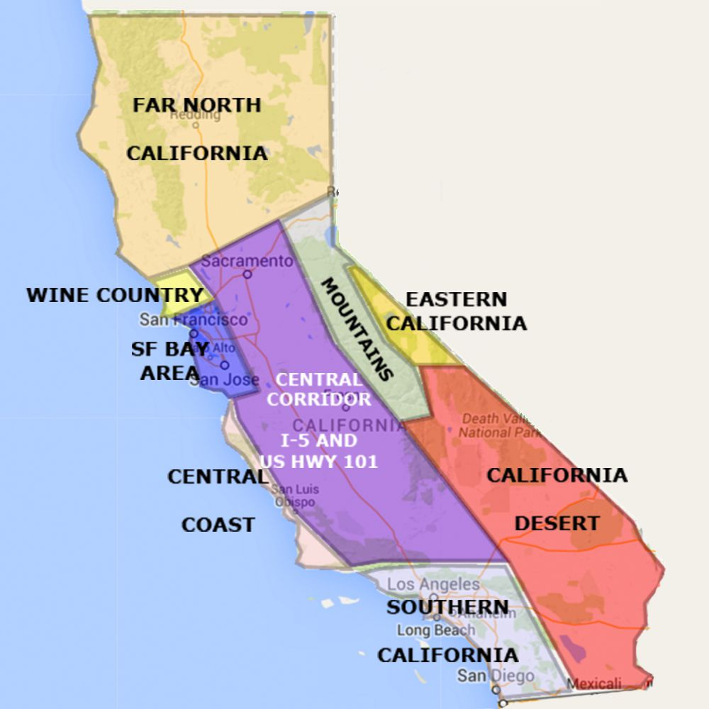 us map of california Best California State By Area And Regions Map