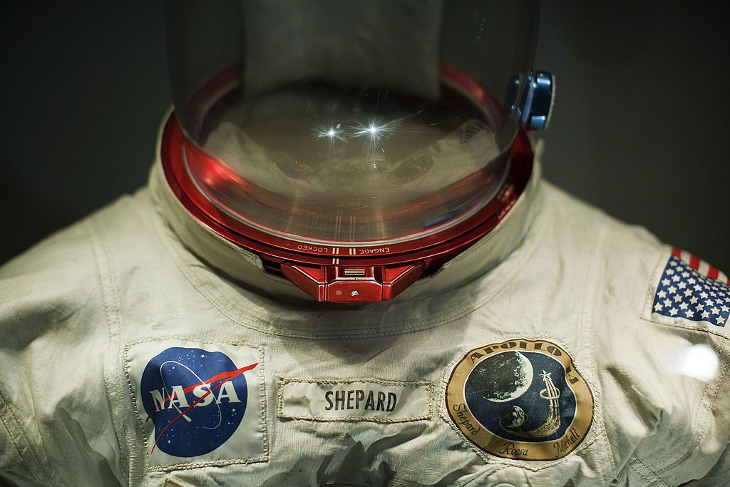 A space suit on exhibit at the Kennedy Space Center Visitor Complex.