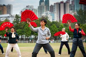 Morning Tai Chi and exercise in Victoria Park