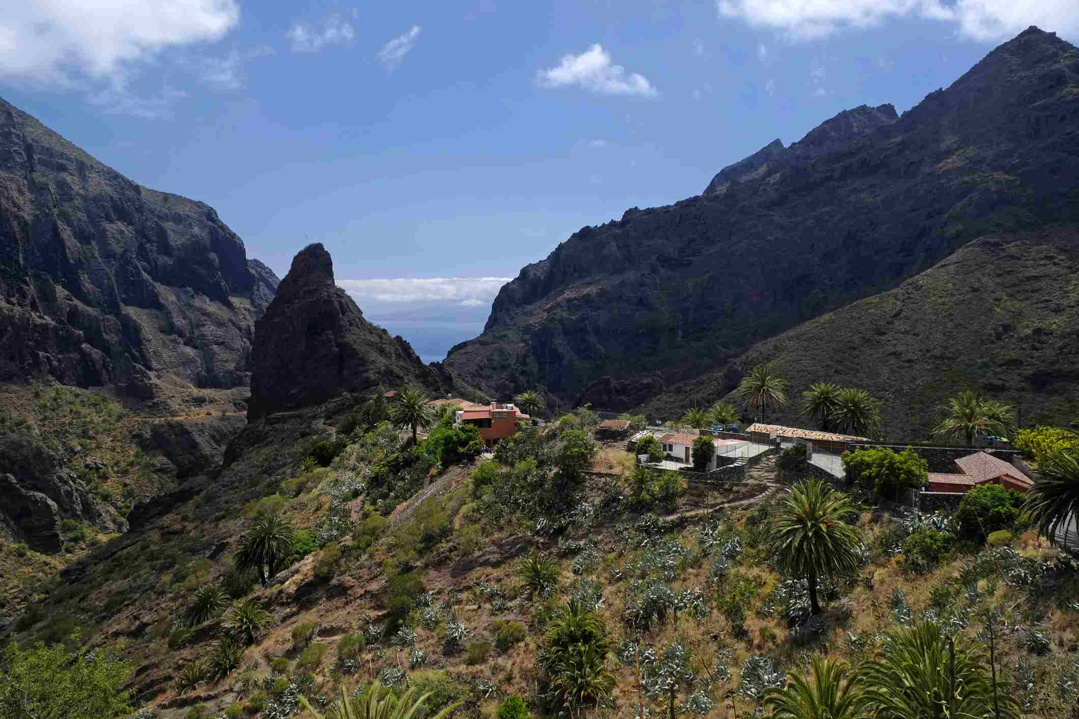 Scenic view of deep ravines surrounding the village of Masca