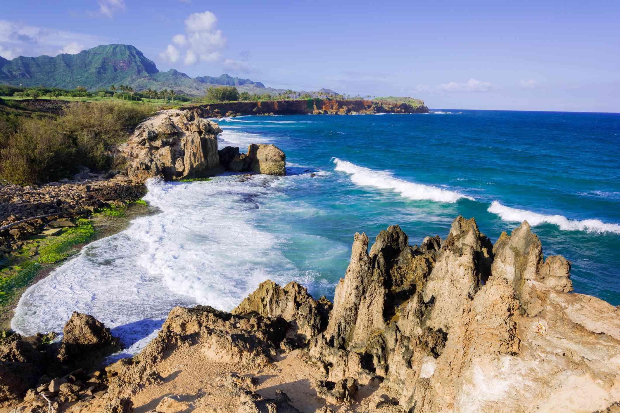 Coastline along Maha'ulepu Heritage Trail on island of Kauai