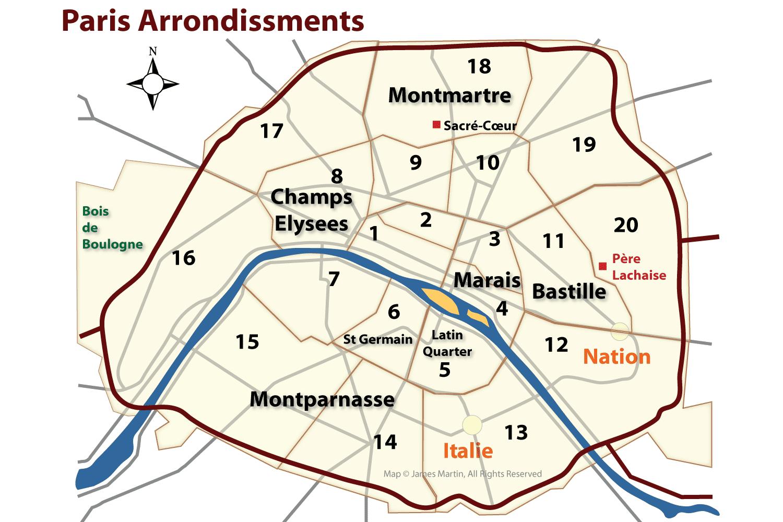 Map Of Paris Districts Paris Arrondissements Map and Guide Map Of Paris Districts