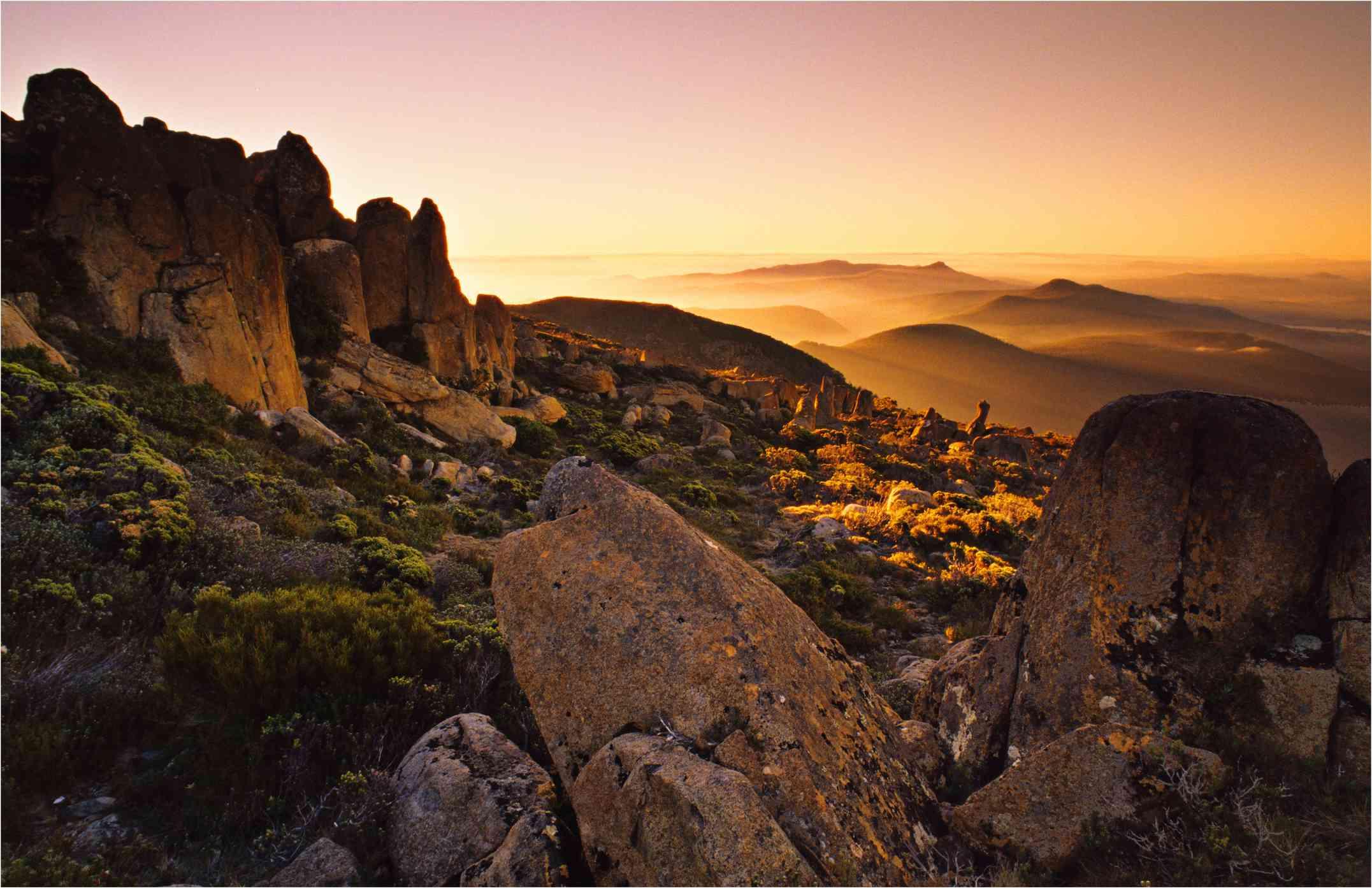 Sunset on the summit of Mt Wellington
