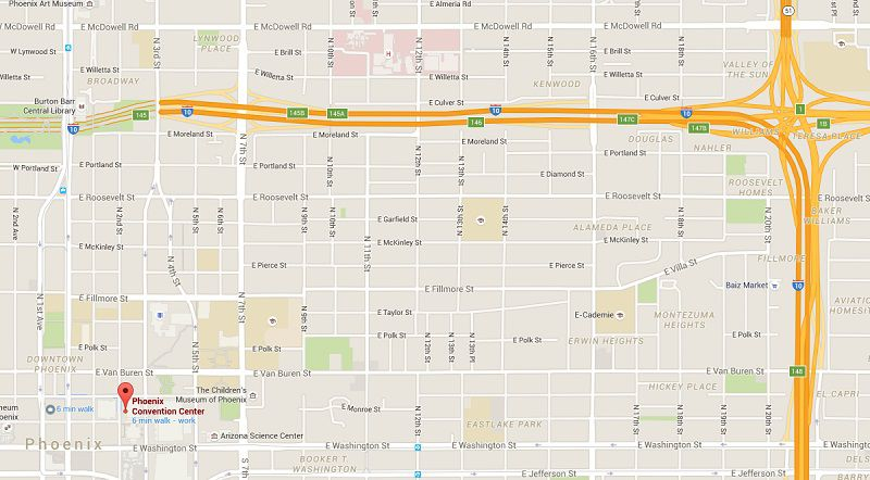 Use this Map to Get to the Phoenix Convention Center Downtown Phoenix Map on