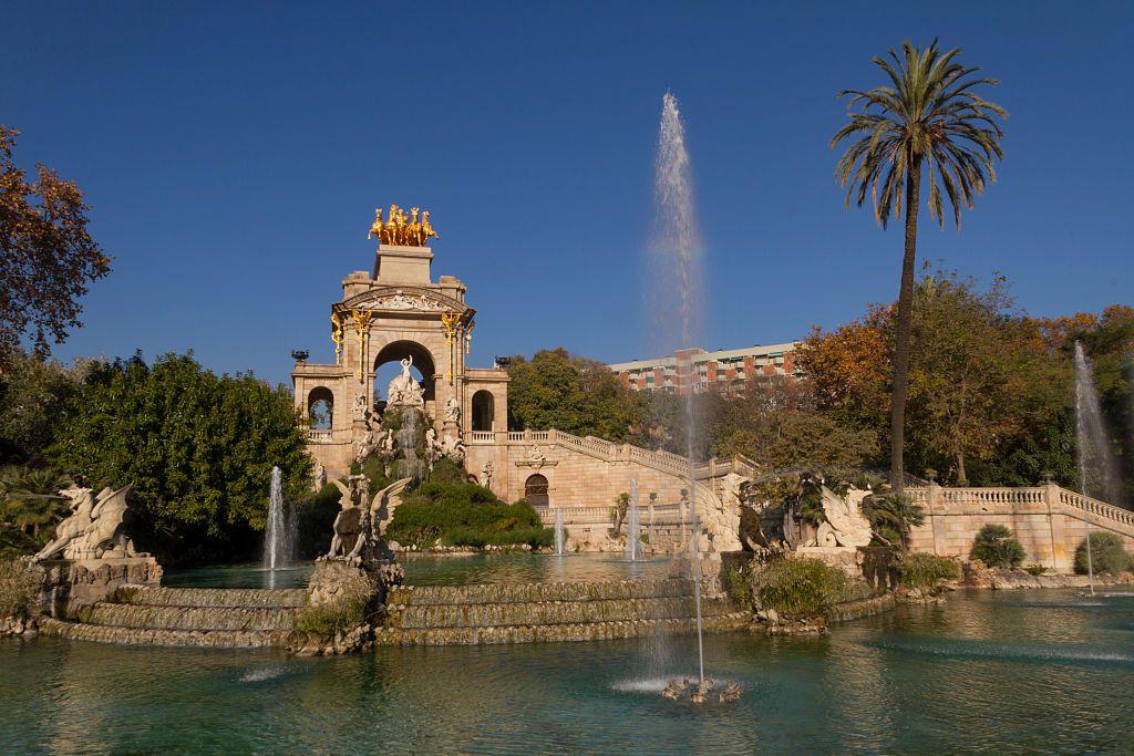 Fountain of Parc de la Ciutadella in a sunny day in Barcelona December 2013