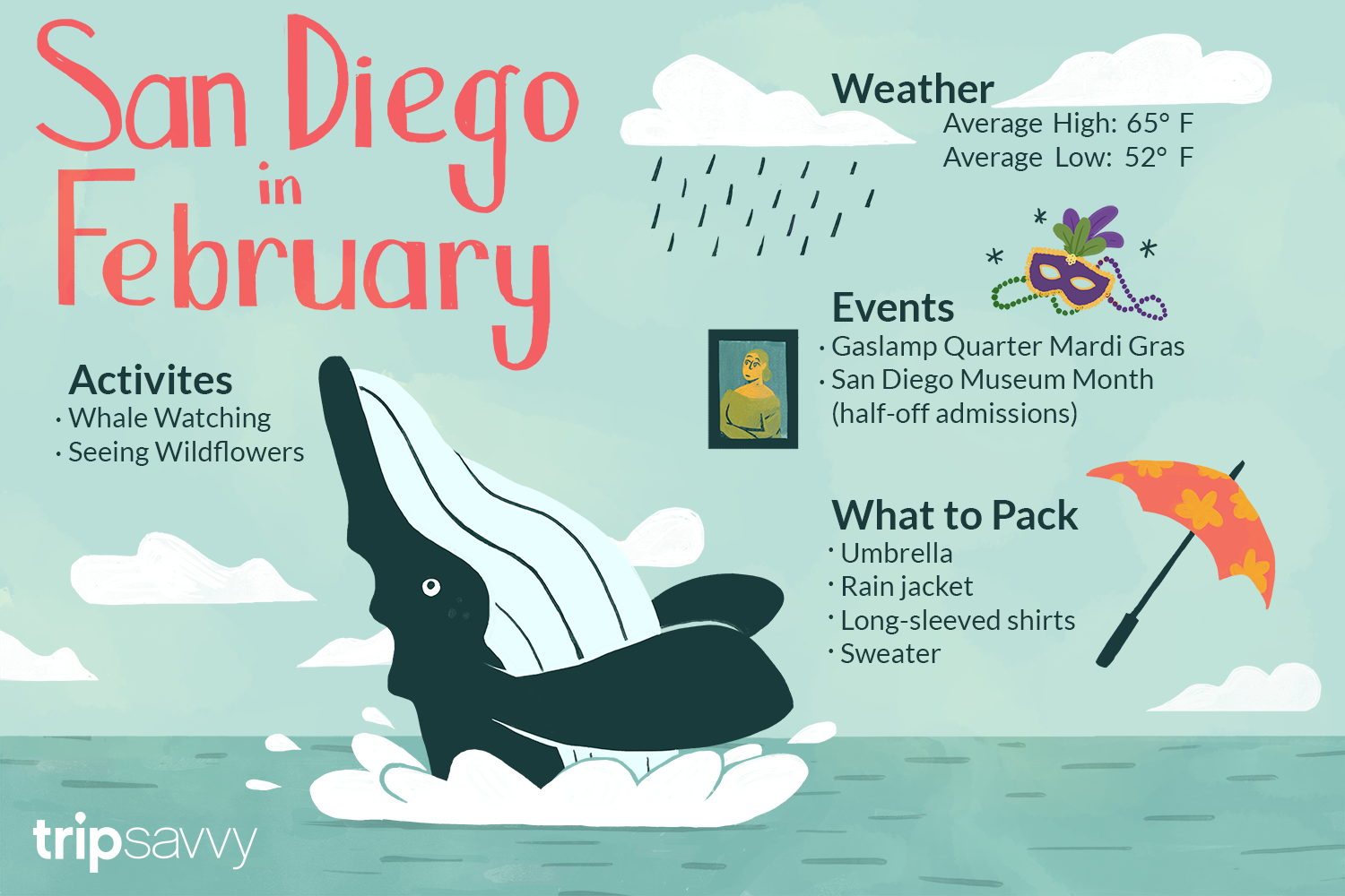 Illustration of a whale coming out of the water with information about San Diego in February around it