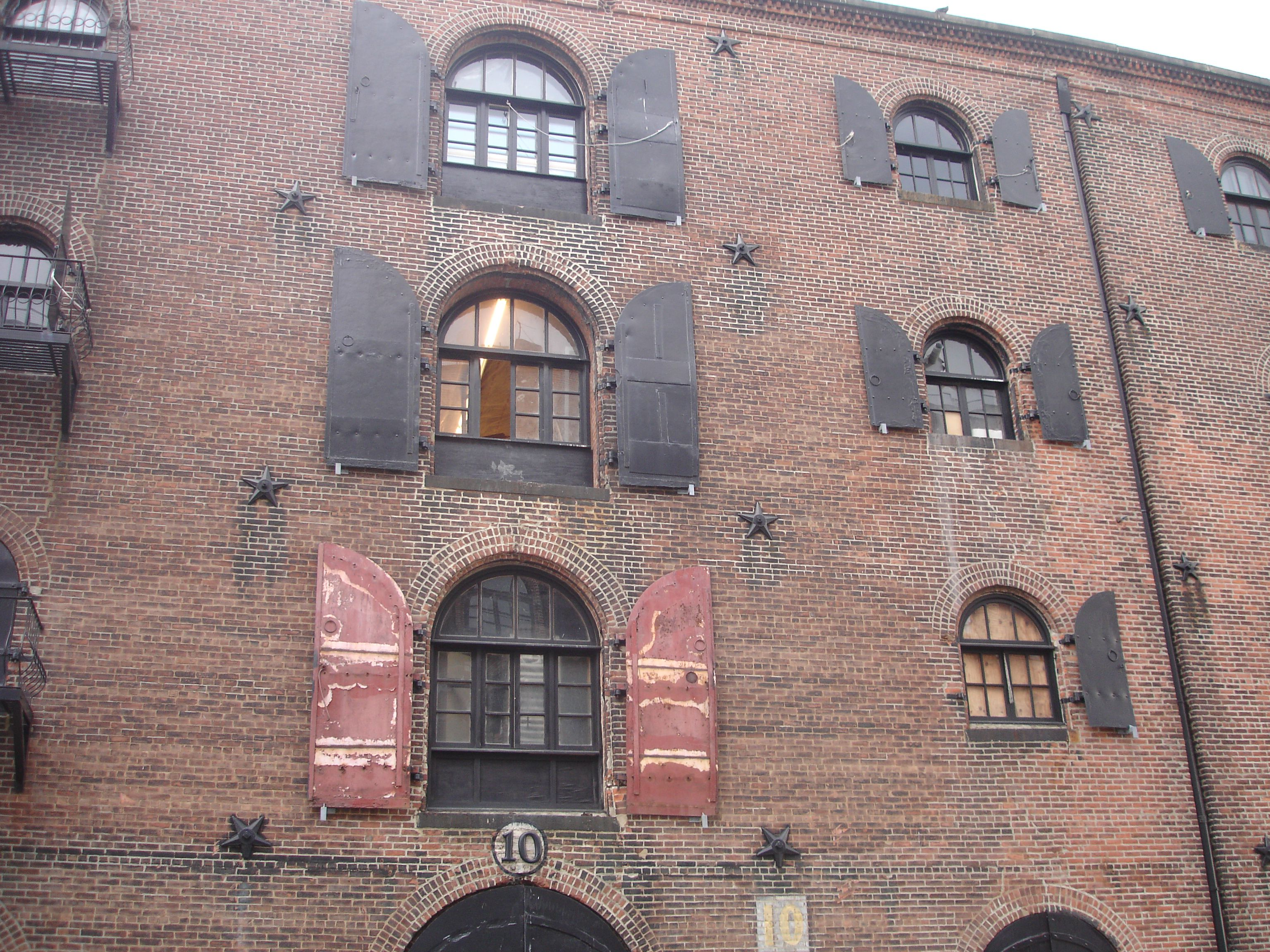 In Red Hook Brooklyn, huge waterfront warehouses such as this have been adaptively reused as artists work spaces and apartments.