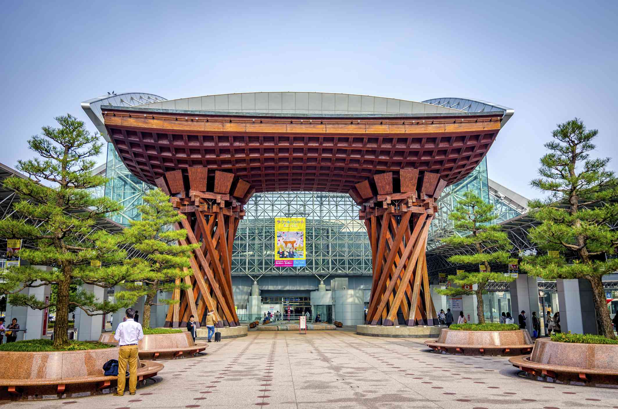 Tsuzumimon located at East entrance to the JR Kanazawa Station. The gate's architecture draws its inspiration from a Japanese traditional drum called tsuzumi
