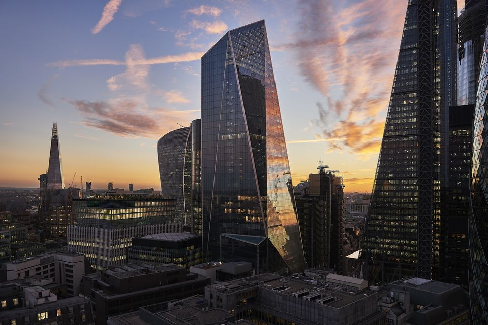 City of London financial district at sunset