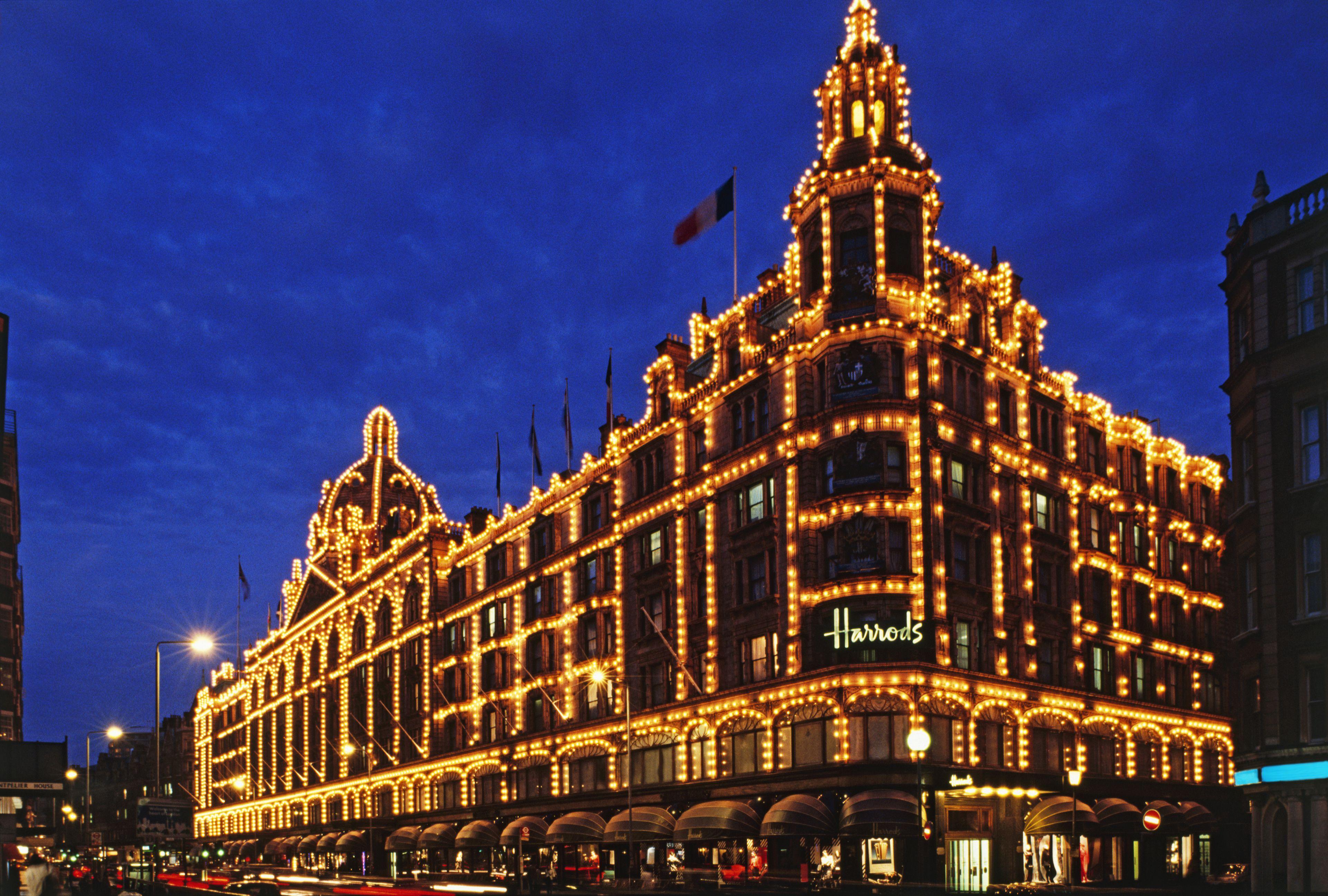 Harrods at night London