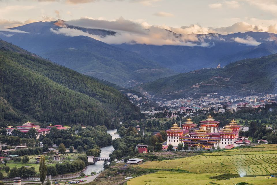 View overlooking the town of Thimphu, Bhutan and the Tashichho Dzong