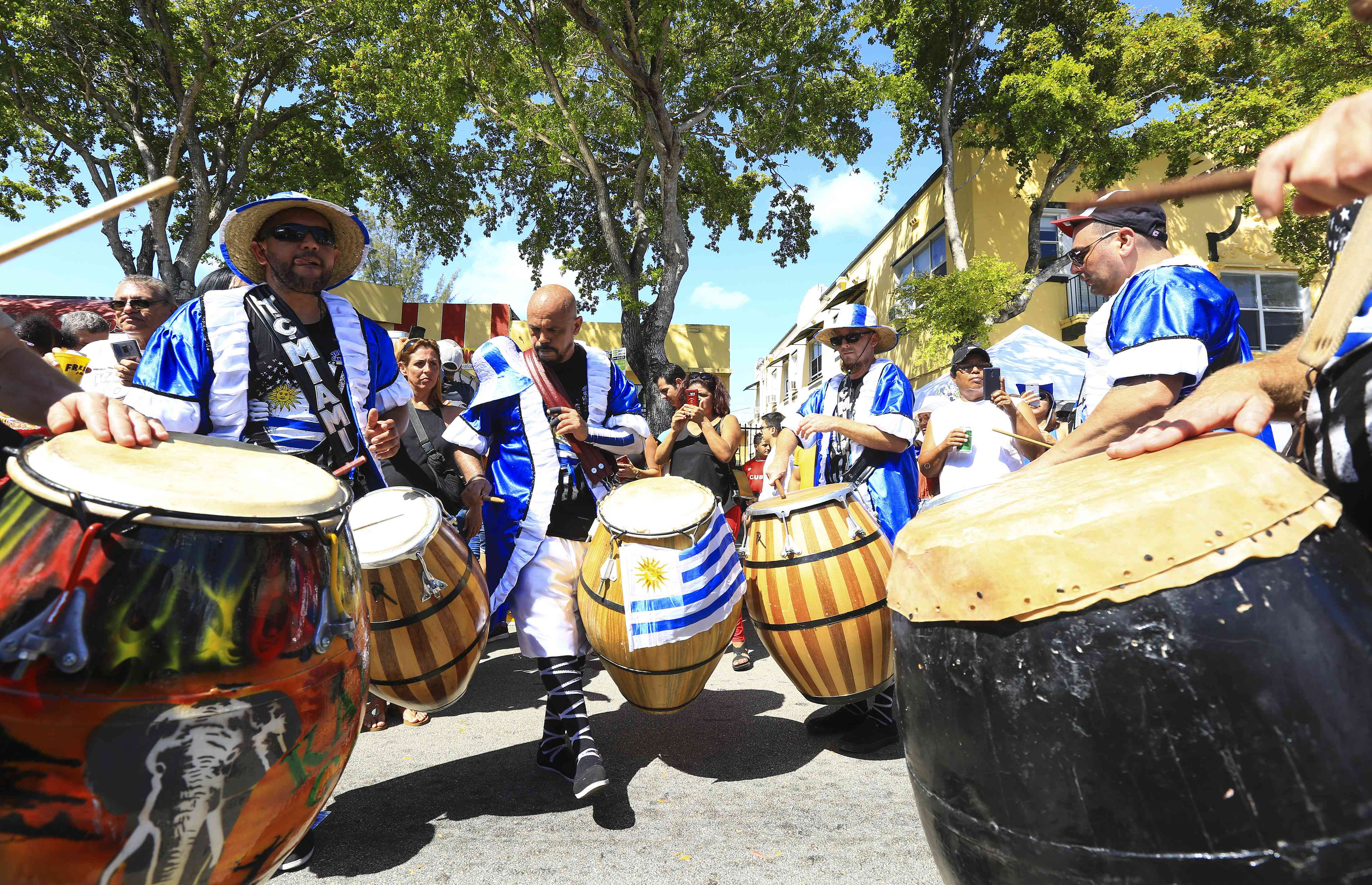 Miami street festival with drummers