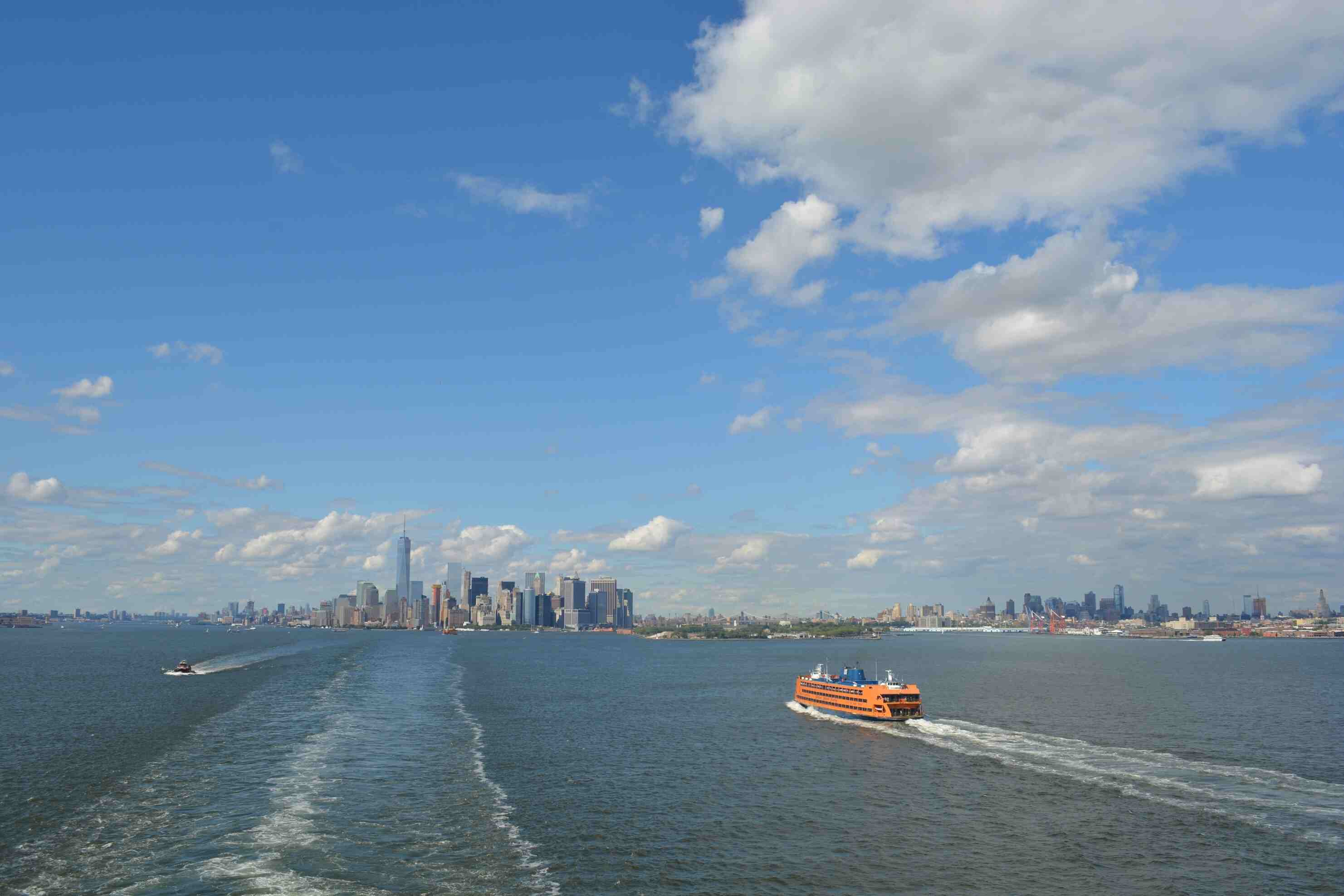 High Angle View Of Staten Island Ferry Sailing In River