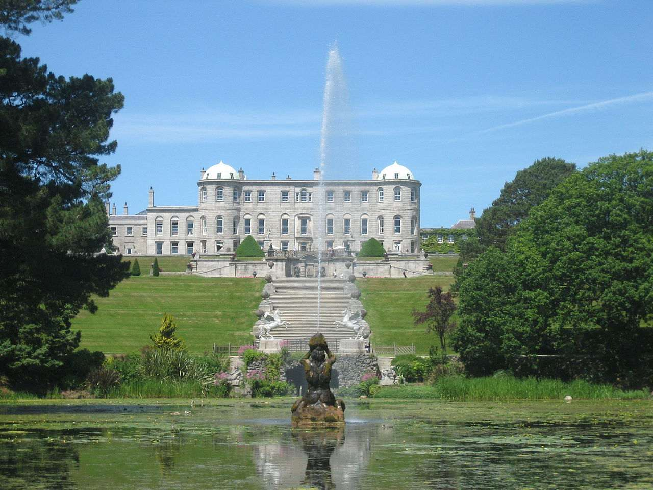 The fountain in the gardens at Powerscourt Estate in County Wicklow