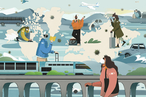 Illustration showing young people traveling