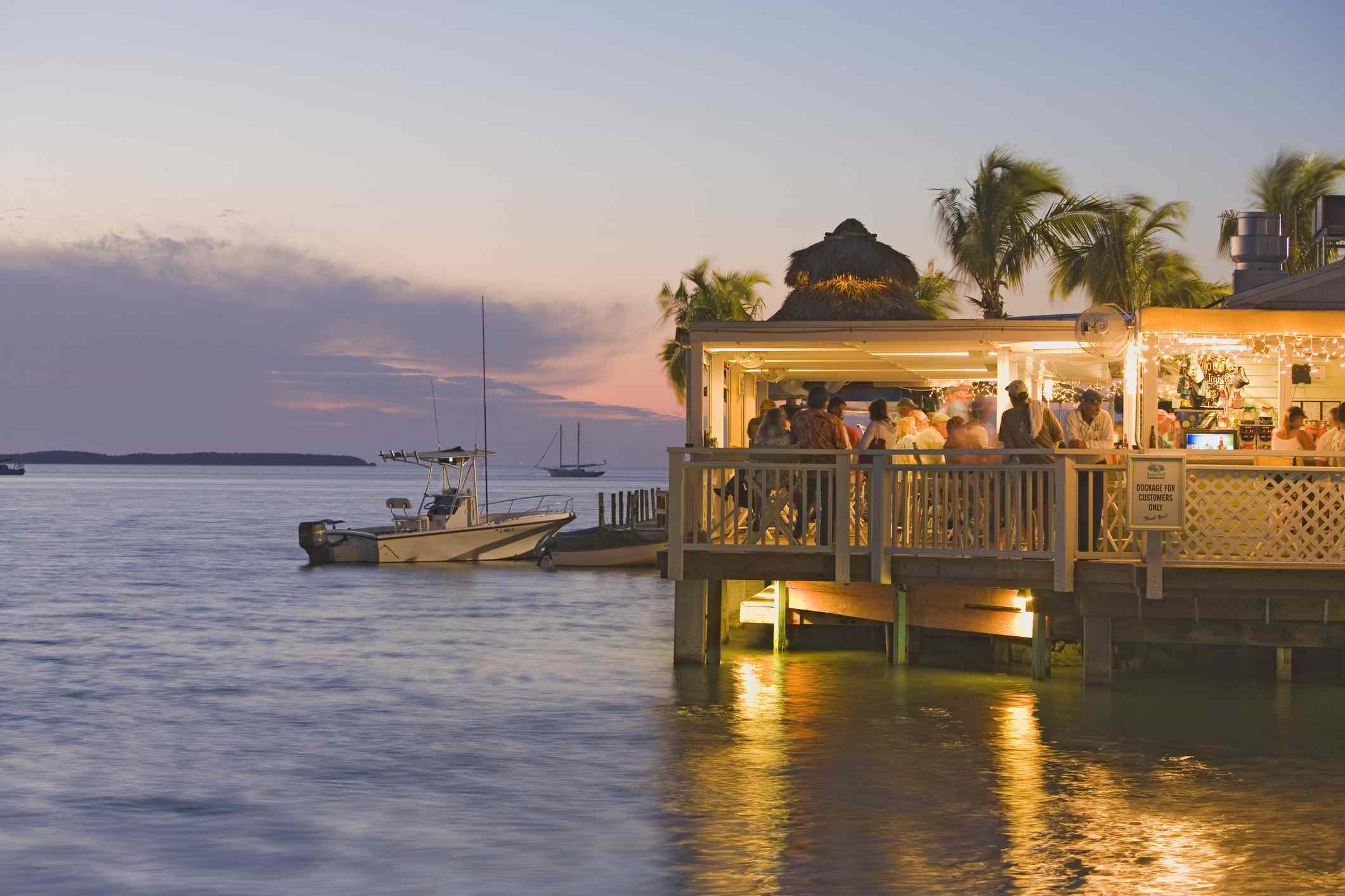 Restaurant in Florida Keys overlooking the water