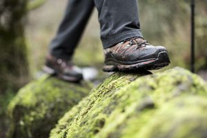 Close up of boots on a mossy rock. - stock photo