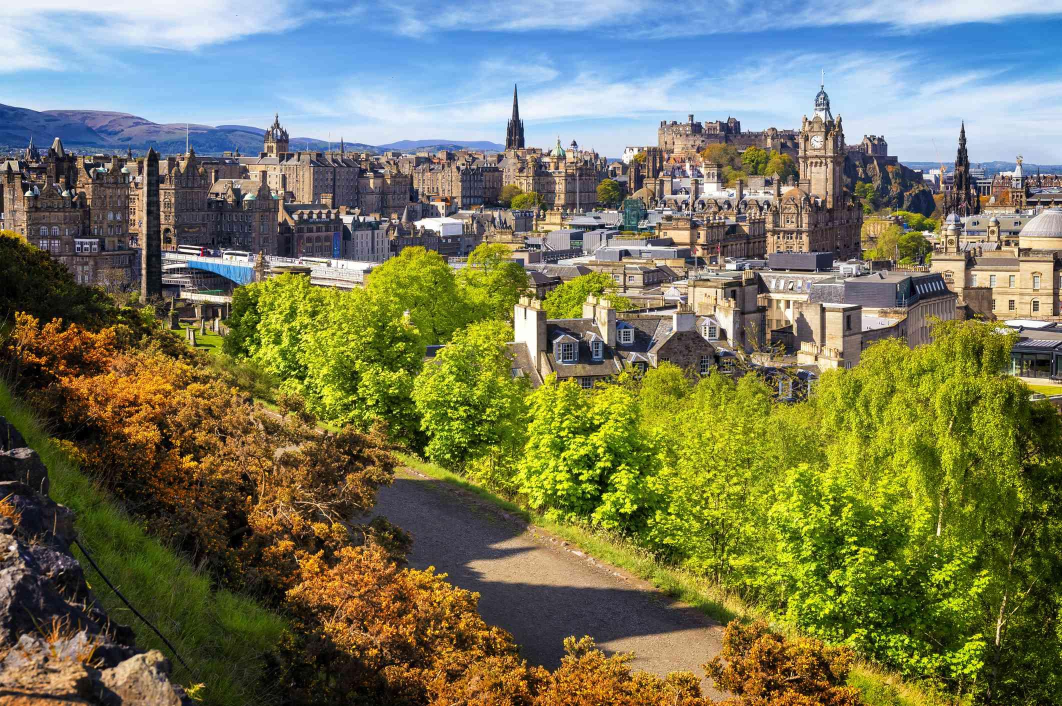 View over historic Edinburgh from Calton Hill, Scotland, UK