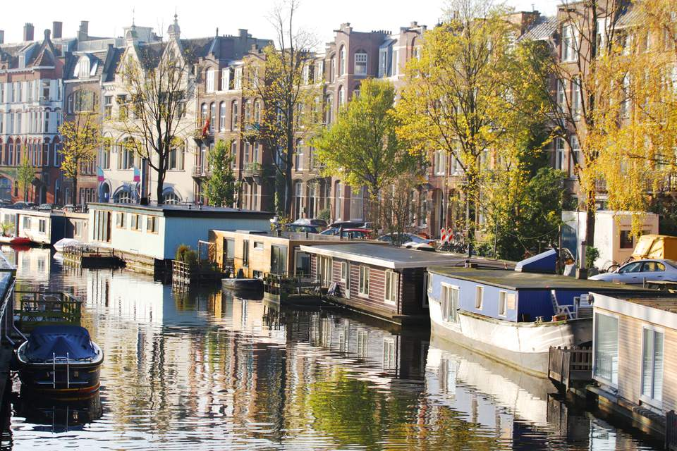 Amsterdam canals on a peaceful morning