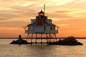 Thomas Point Lighthouse, in the Chesapeake Bay off Annapolis, Maryland.