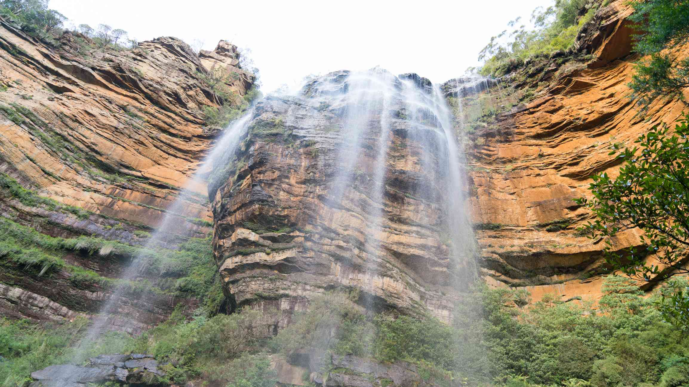 low angle view of Wentworth Falls in the Blue Mountains