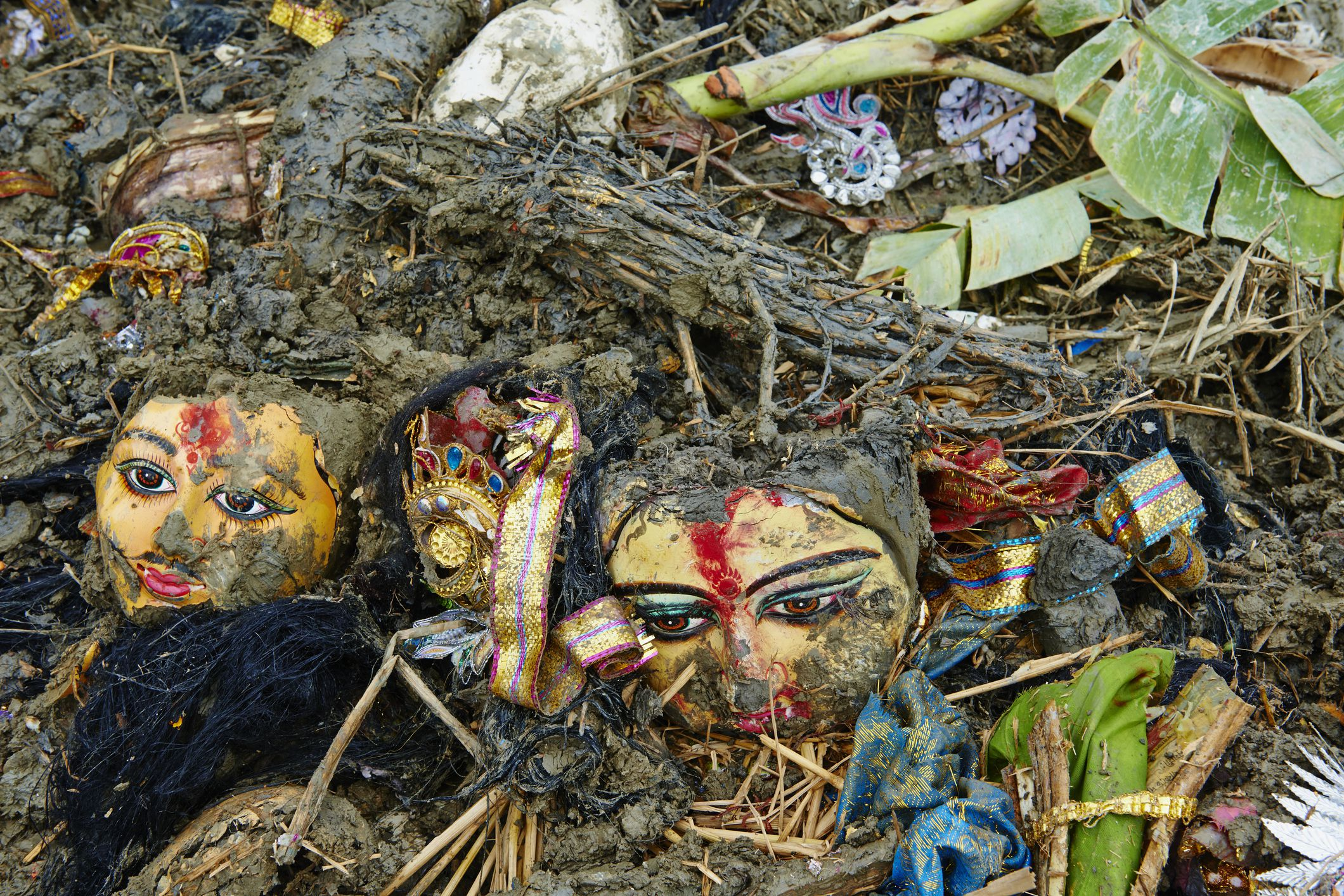 Durga Puja idols are thrown out to the Hooghly river.