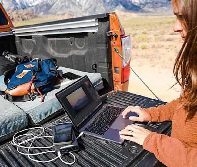 Using a portable power pack on the road.