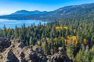 Scenic fall view of Lake Tahoe with mountains