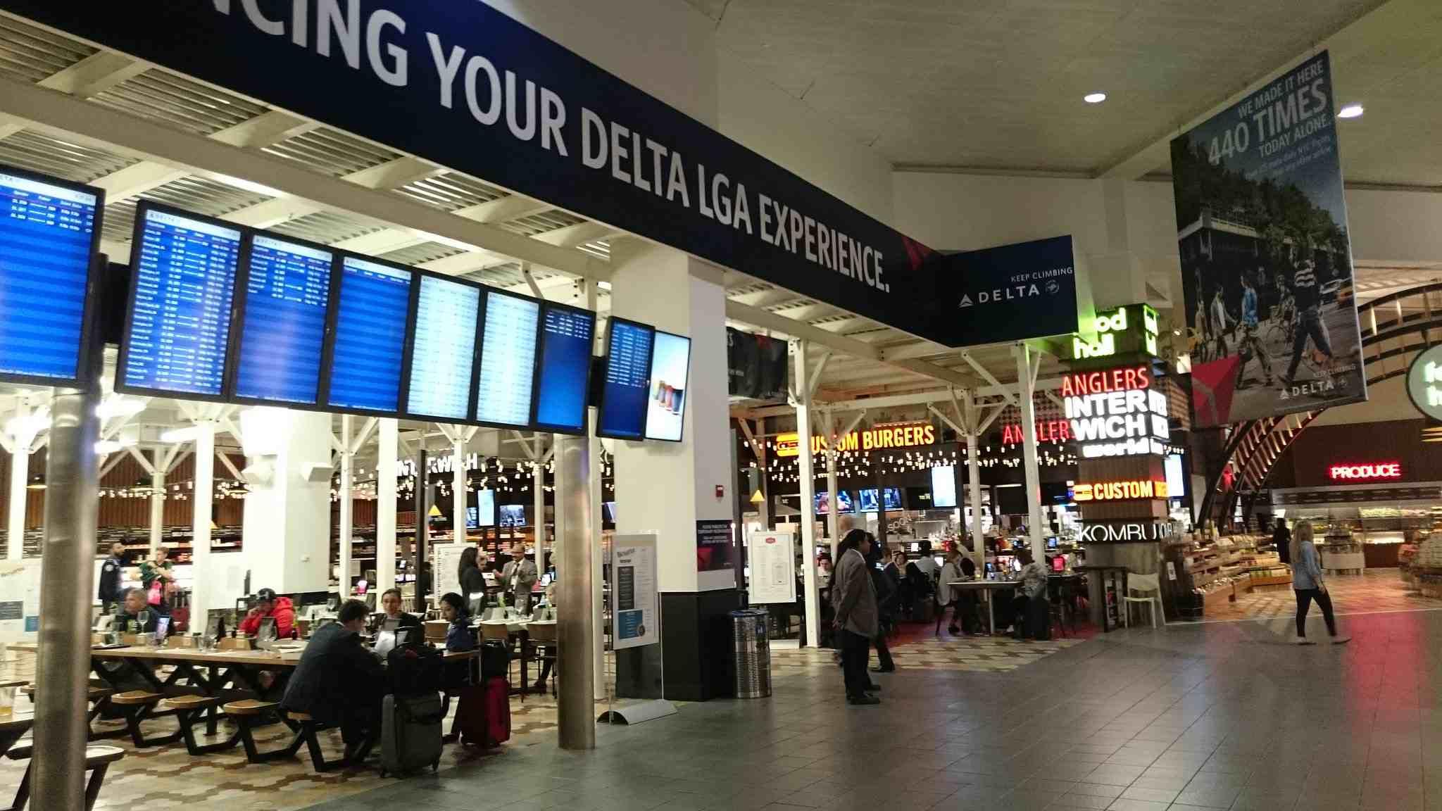 A LaGuardia Airport food court.