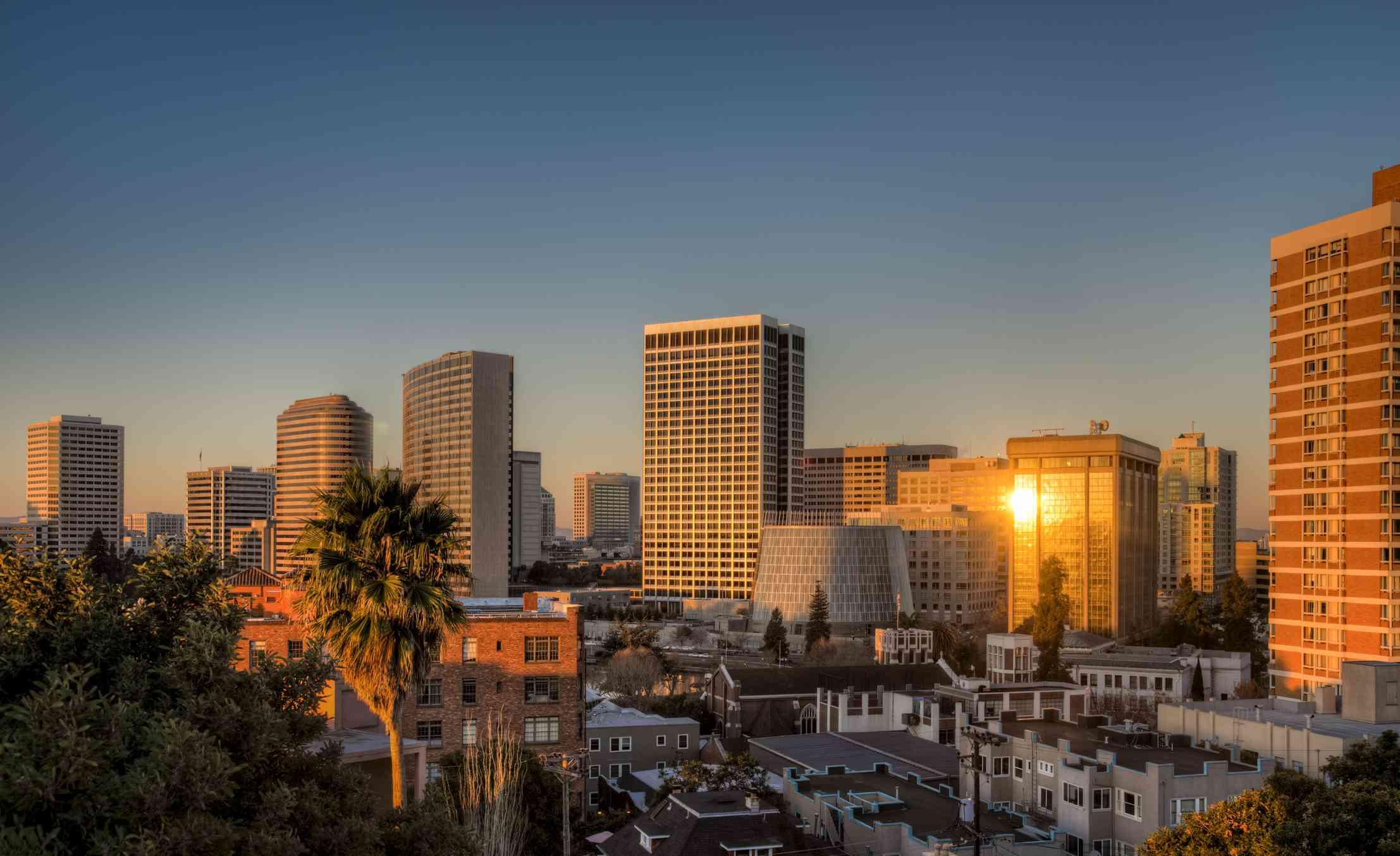 Skyline of Oakland at sunrise