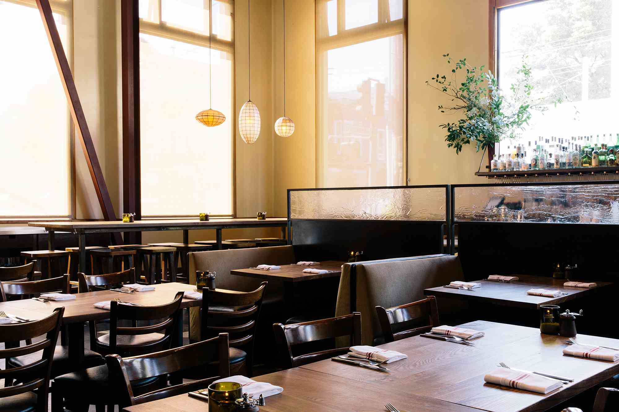 Airy, empty dining room in the Nopa restaurant with