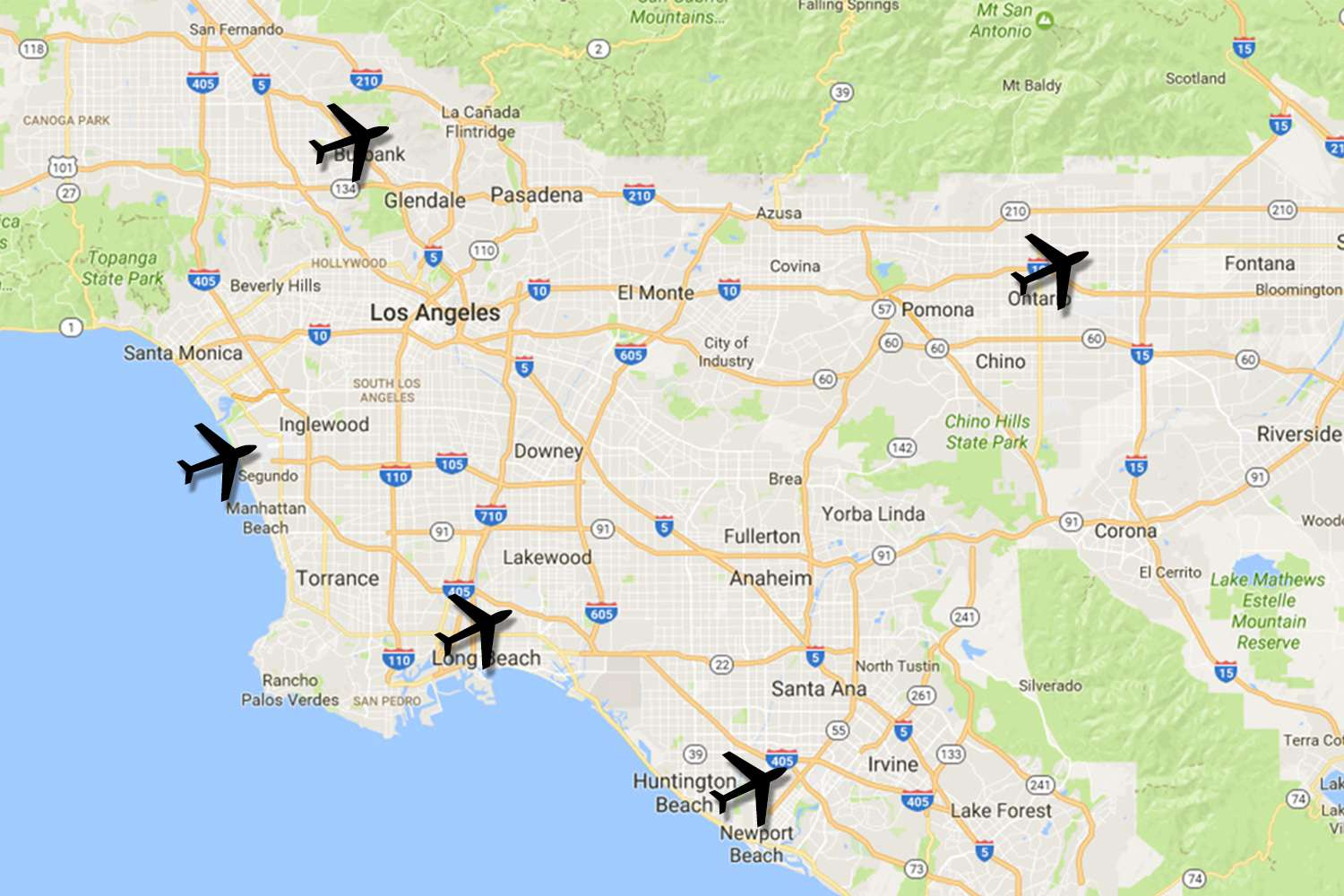 La Airports Map How to Get to LA by Car, Train, Bus, and Airplane La Airports Map