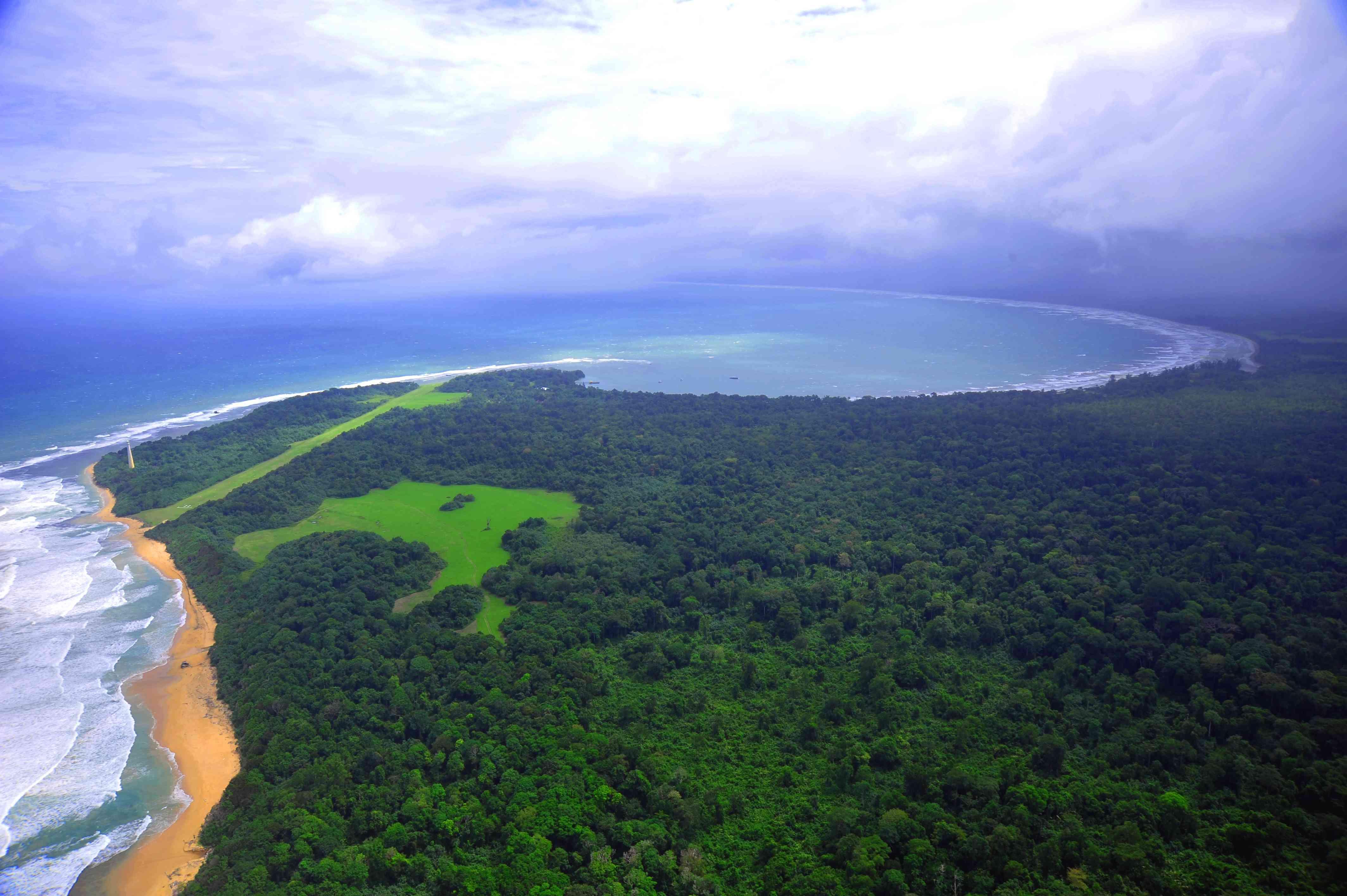Aerial view of Bukit Barisan Selatan National Park in Sumatra