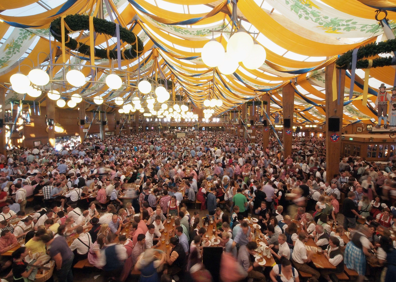 People inside the Braeurosl beer tent during Oktoberfest in Munich