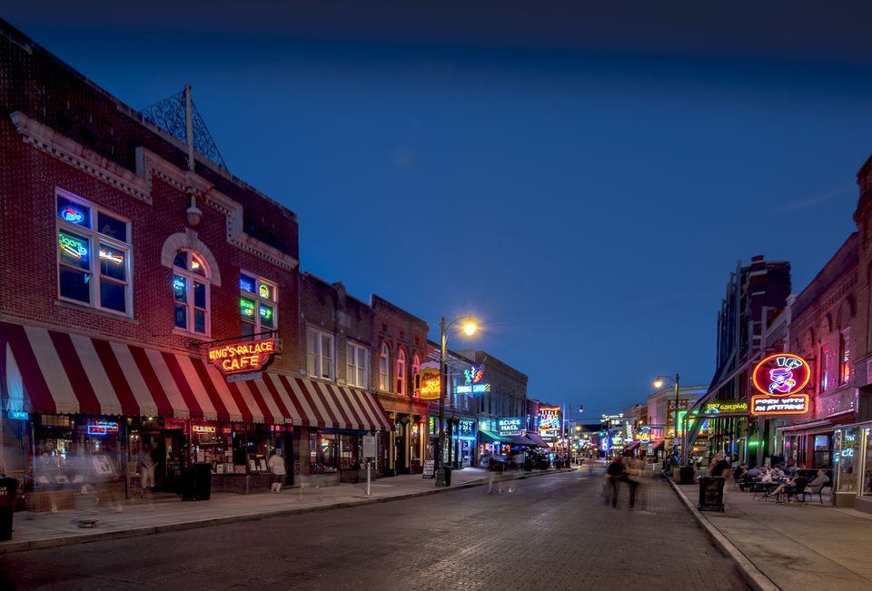 USA, Tennessee, Beale Street at twilight