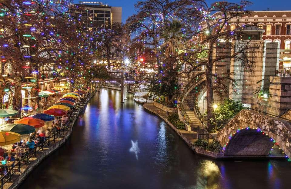 San Antonio River Walk decorated with Christmas lights