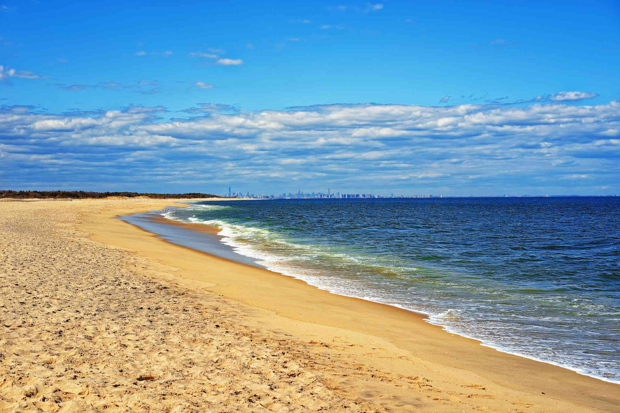 Ocean shore and view to NYC from Sandy Hook, New Jersey