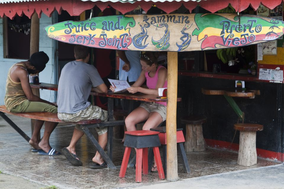 Backpackers at cafe in Costa Rica