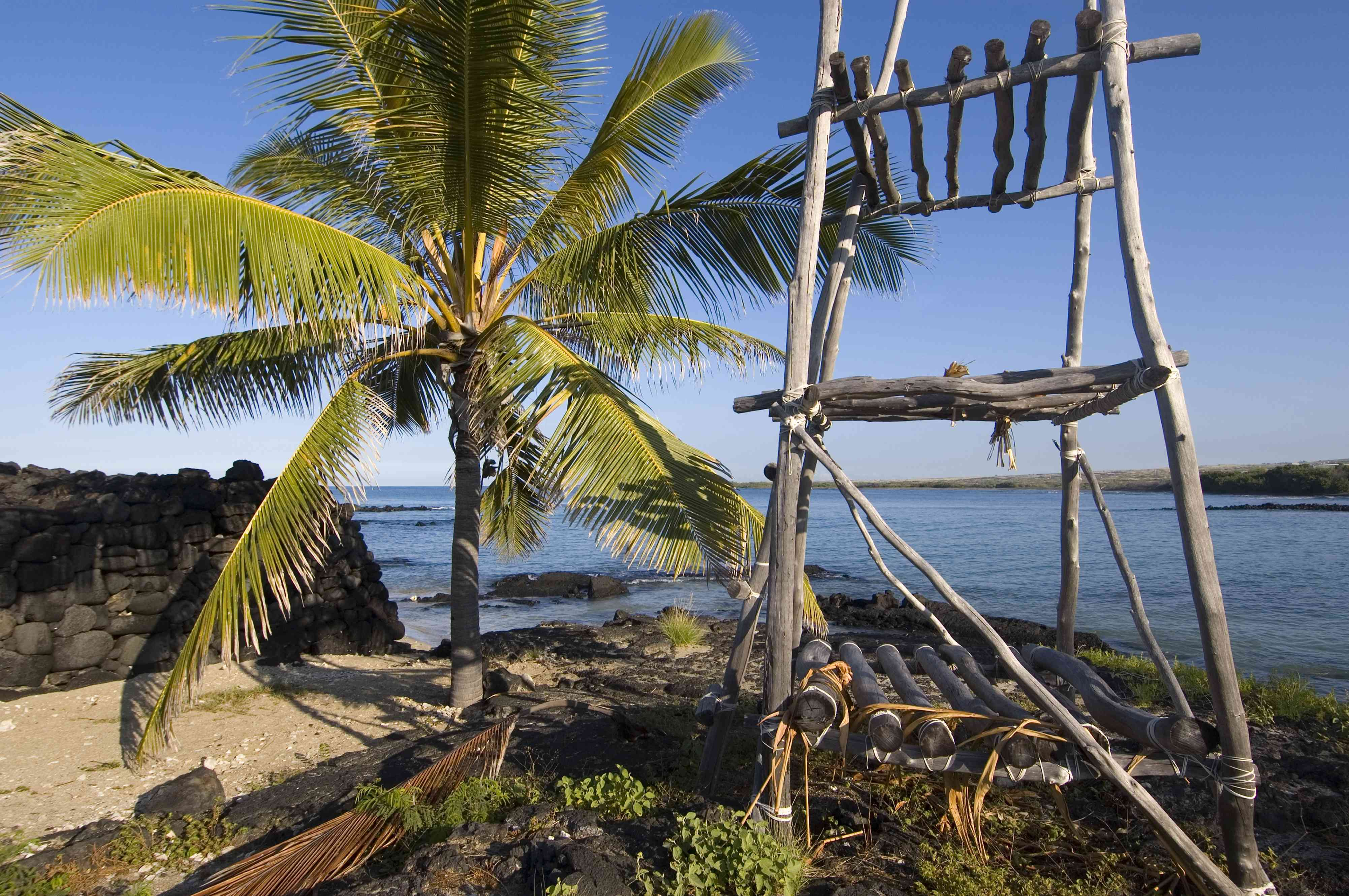 Heiau with tower of offerings.