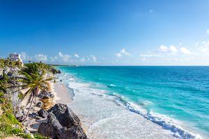 Scenic view of the beach in Tulum, Mexico.
