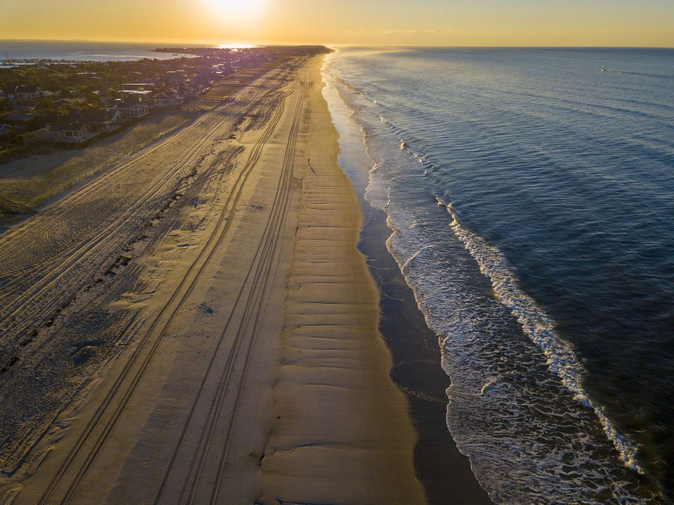 Sunrise over a beach on Fire Island, New York