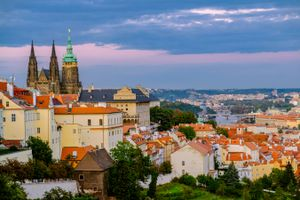 View of Prague Cityscape around the castle