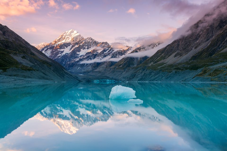 Mt Cook at sunset reflected in lake, New Zealand